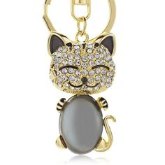 Smiling Cat Keychain - Love Cat Design Crystal Keychain, Smiling Cat, Cat Keychain, Key Chain Holder, Cat Design, Key Rings, Types Of Metal, Crystal Rhinestone, Jewelry Sets