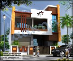 1f House Front Wall Design, Small House Design, Modern House Design, 2 Storey House Design, Bungalow House Design, Independent House, Home Building Design, Dream House Exterior, House Elevation