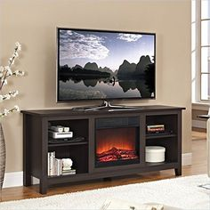 Espresso Wood TV Stand w/Fireplace Insert - Walker Edison a warm, entertaining space in any room of your home with this wood media stand with electric fireplace. Crafted from high-grade MDF with a durable laminate finish to accommodate Fireplace Heater Insert, Tv Stand With Fireplace Insert, Fireplace Inserts, Electric Fireplace Reviews, Electric Fireplace Heater, Electric Fireplace Tv Stand, Electric Fireplaces, Espresso Tv Stand, Furniture
