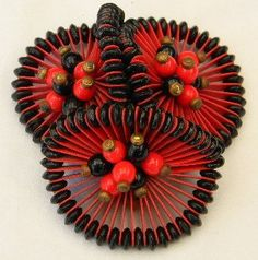 Vintage WWII 1940s Frank Hess Miriam Haskell Red Black Dress Clip. via Etsy.
