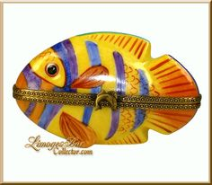 Colorful Striped Fish Limoges Box (Retired)