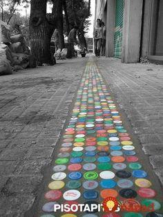 Pop bottles in concrete diy use all the same color for better curb appeal – Artofit Bottle Top Art, Bottle Top Crafts, Bottle Cap Projects, Diy Bottle, Plastic Bottle Tops, Plastic Bottle Crafts, Recycling, Diy And Crafts, Kids Crafts