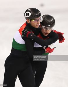 Shaolin Sandor Liu of Hungary reacts after the Men's 5000m Relay Short Track Speed Skating heat 2 on day four of the PyeongChang 2018 Winter Olympic Games at Gangneung Ice Arena on February 13, 2018 in Gangneung, South Korea.