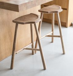 """Our tall stool shares the same distinctive seat shape as the low stool but in addition has the distinctive """"T"""" foot rest. Stool Chair, Wood Stool, Chair Design, Furniture Design, Furniture Makers, Cool Bar Stools, Restoration Hardware Dining Chairs, Accent Chairs Under 100, Wooden Dining Room Chairs"""