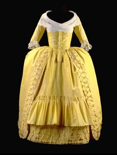 Robe à l'anglaise, consisting of tunic and skirt of bright yellow silk taffeta with a garnish of bouillons, worn à la polonaise. 18th Century Dress, 18th Century Costume, 18th Century Clothing, 18th Century Fashion, Vintage Outfits, Vintage Gowns, Vintage Fashion, Vintage Hats, Antique Clothing