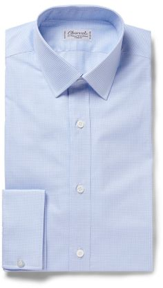 Charvet Blue Gingham Check Cotton Shirt sur shopstyle.fr