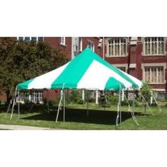 20 x 20 Green and White Canopy Pole Tent Complete