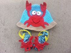 Toddler Boy Size 1 to 3 years Crochet Crab Hat by JensNeedleKnows, $30.00