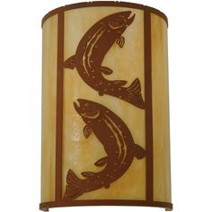12 Inch W Leaping Trout Wall Sconce. 12 Inch W Leaping Trout Wall Sconce Theme:  ANIMALS RECREATION Product Family:  Leaping Trout Product Type:  WALL SCONCES Product Application:  ONE LIGHT Color:  EARTH/BA Bulb Type: MED Bulb Quantity:  1 Bulb Wattage:  60 Product Dimensions:  18H x 12W x 9.25DPackage Dimensions:  NABoxed Weight:  8 lbsDim Weight:  72 lbsOversized Shipping Reference:  NAIMPORTANT NOTE:  Every Meyda Tiffany item is a unique handcrafted work of art. Natural...