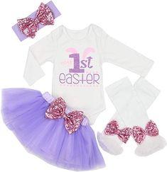 Baby Girl My 1st Easter Skirt Set Short Sleeve Romper+Dot Bubble Dress+Bunny Leg Warmers+Headband 4Pcs Outfits