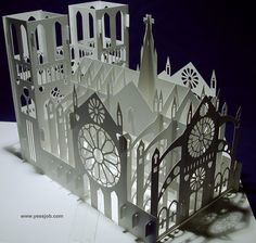 The Notre Dame Cathedral Pop-up Card Kirigami Origamic Architecture Kirigami Tutorial, Kirigami Templates, Origami And Kirigami, Box Templates, Kirigami Patterns, Paper Art, Paper Crafts, Foam Crafts, Paper Toys