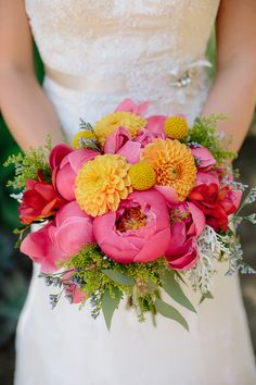 Stunning. #bouquet #peonies #dahlias | San Diego Botanic Garden Wedding from heidi-o-photo  Read more - http://www.stylemepretty.com/california-weddings/2013/10/28/san-diego-botanic-garden-wedding-from-heidi-o-photo/