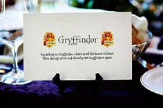 Help out your less Harry Potter-savvy guests by explaining each house's characteristics on your tables.