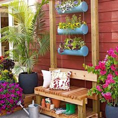 Build this sturdy bench and hanging flower garden to accent your patio! #SpringIsCalling