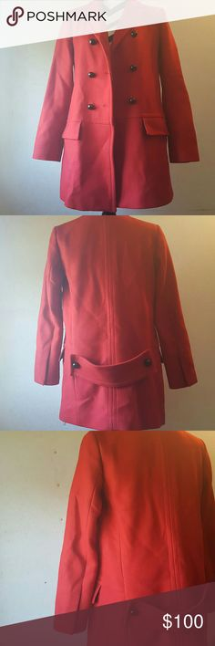 Zara jacket size med In excellent Pre-loved condition size Med red button up jacket perfect for winter extra button still attached to inside tags front pockets 30 is total length  and with jacket button closed it measures 19 from pit to pit Zara Jackets & Coats