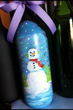 Painted snowman wine bottle