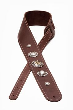 2.5 5 Concho Boot Leather Guitar Strap by LoreLeatherProducts
