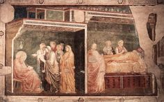 'Szenen aus dem Leben des heiligen Johannes des Täufers: 2. Geburt und Namensgebung des Täufers (Peruzzi-Kapelle Santa Croce, Florenz)', freskos von Giotto Di Bondone (1266-1337, Italy)