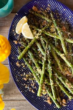 1 tbsp olive oil 1 tsp herbs de provence  2 tbsp butter  1/2 cup panko bread crumbs  1 lemon, juiced and zested  2 tbsp freshly grated parmesan cheese  Coarse salt and freshly cracked black   Preheat the oven to 425 degrees F.