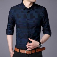 Men Shirt For Men Casual Business Shirts New Arrival Men Famous Brand Clothing Plaid Long Sleeve Male Shirt
