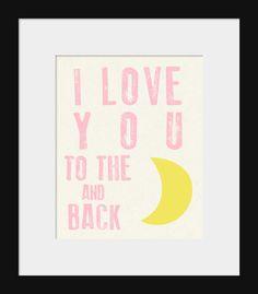 Nursery Wall Decor-Kids Room Art Prints-I Love You to the Moon and Back Print for Nursery Blue and Yellow via Etsy