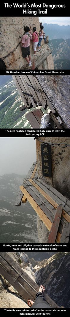 Most dangerous hiking trail in the world…I want to go NOW.. tea and hiking are my favorite things (there is a small tea house at the top) :)