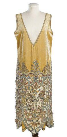 Callot Soeurs / Honey colored velvet cocktail dress, 1920s