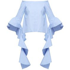 Ellery Delores off-the-shoulder top ($184) ❤ liked on Polyvore featuring tops, blouses, flutter sleeve blouse, e l l e r y, flutter sleeve top, blue blouse and off the shoulder blouse