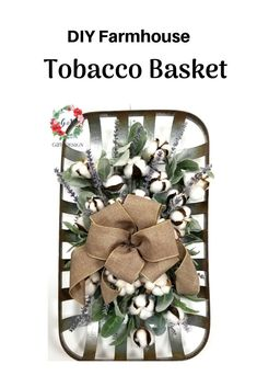 Learn to make your own Farmhouse Tobacco Basket with my FREE Tutorial. Click the link below to learn more! Diy Wreath, Wreath Bows, Wreath Ideas, Door Wreaths, Tobacco Basket Decor, Patriotic Decorations, Flower Decorations, Christmas Decorations, Table Decorations
