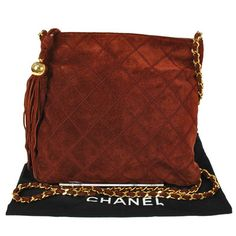 Chanel Red Brown Suede Quilted Shoulder Bag