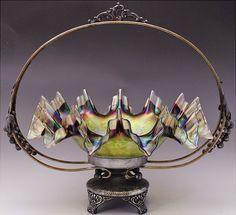 Beautiful Austrian Loetz Iridescent Art Glass Silver Plate Bride's Basket