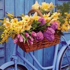 vintage bicycle charm  - spring flowers