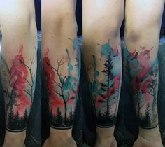 Watercolor Blue And Red Forest Mens Wrist Tattoos …