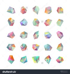 Collection of colored crystals. Geometric shapes. Trendy hipster retro backgrounds and logotypes.