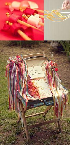 DIY ribbon wands for wedding guests. Cute alternative to confetti :) #wedding ideas #diy wedding #wedding decorations