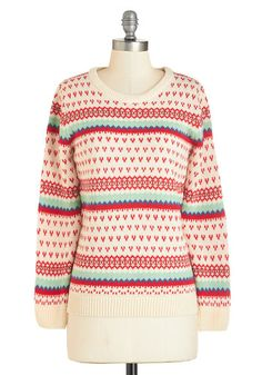 A Real Treat Sweater. Cuddle up in this sweater and sip on hot cocoa, or wear its ivory knit base to decorate a gingerbread house. #gold #prom #modcloth