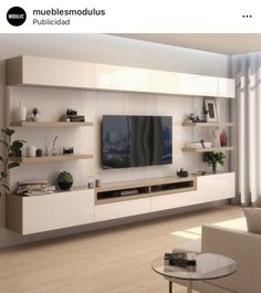 Favorite rack idea- Ideia de rack favorita Favorite rack idea - Amanda – Tables and desk … Living Room Wall Units, Living Room Tv Unit Designs, Living Room Colors, Living Room Sets, Living Room Modern, Rugs In Living Room, Living Room Interior, Ikea Tv Wall Unit, Living Room Decor With Tv