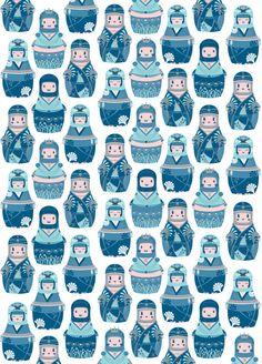 Artist: Piktorama on society 6 ~ Title: Matrioshkas Pattern ~ Medium: unkown ~ Size: multiple size prints available ~ individual matrioshka dolls are repeated to create a pattern.