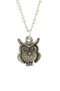 Owl Pendant Necklace - sterling silver dipped charm