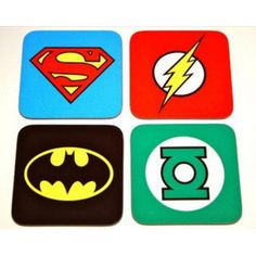 Licensed DC Comics SUPERHEROES COASTERS Set Superman, Batman Green Lantern Flash