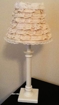 Shabby Chic Vintage Rustic Ivory Tiered Ruffle Lace and Rose Accented Lampshade Gift. $39.99, via Etsy.