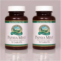 Naturessunshine Papaya Mint Digestive System Support Herbal Combination Supplement 70 Chewable Tabs (Pack of 2) Nature's Sunshine,