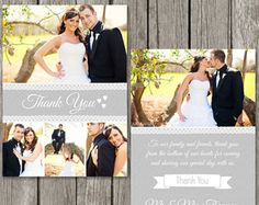 Thank You Card - Wedding Thank You Template - Photoshop Photo Thank Yous for Photographers - Free Thank You Cards, Thank You Card Template, Wedding Thank You Cards, Card Wedding, Card Templates, Wedding Ideas, Bachelorette Party Invitations, Wedding Invitations, Personalized Greeting Cards