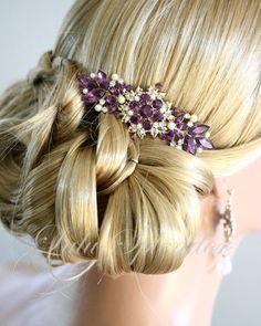 Vintage Peigne nuptiale Améthyste mariage Peigne de mariage pourpre d'accessoires de cheveux d'or Comb, CHANTILLY