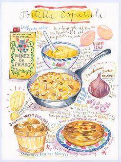 Spanish Kitchen Decor, Kitchen Art, Watercolor Food, Watercolor Paintings, Cartoon Recipe, Recipe Drawing, Empanadas Recipe, Vegetable Prints, Guacamole Recipe