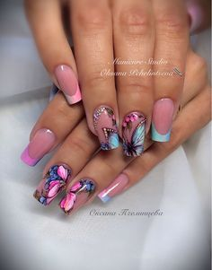Heat Up Your Life with Some Stunning Summer Nail Art Nail Art Designs, Butterfly Nail Designs, Beautiful Nail Designs, Beautiful Nail Art, Butterfly Nail Art, Hot Nails, Swag Nails, Hair And Nails, Nail Design Spring