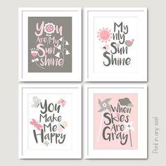 pink and gray nursery print set you are my sunshine baby girls