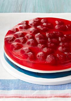 JELL-O Gelatin Red, White & Blue Dessert – Just in time for summer's patriotic holidays, here's a red, white and blue dessert made with berries, mini marshmallows and JELL-O.