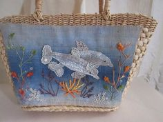 Cappelli Straworld Inc Purse Dolphin Porpoise Straw Beads Sequins Underwater  #CappelliStraworld #ShoulderBag