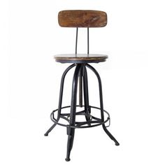 Industrial Metal and Wood Counter Stool